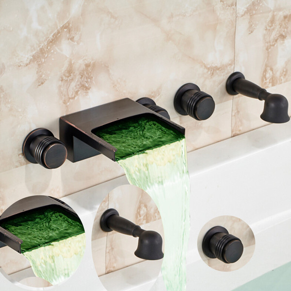 top popular Wall Mounted Oil Rubbed Bronze Bathtub Faucet LED Waterfall Spout Mixer 3 Handles Pull Out Handshower Widespread 5 Holes 2021