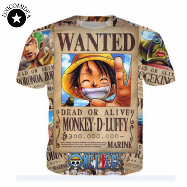 f86641b23 Wholesale- 2017 New Men Women Summer ONE PIECE NARUTO Pikachu Cartoon Print  O-Neck Short Sleeve Boy Girl Hip Hop 3D Anime T Shirts