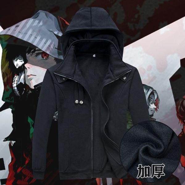 top popular Tokyo Ghoul Cosplay Ken Kaneki Costume Unisex Green  Black Hoodie Coat Jacket Thick Warm Cardigan Hooded Sweatshirt 1 Transactions 2020