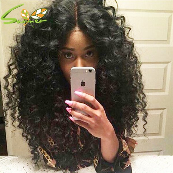 Free Part Malaysian Deep curly 150 Density Full Lace Human Hair Wigs Glueless Cap with Baby Hair Around cap no tangle