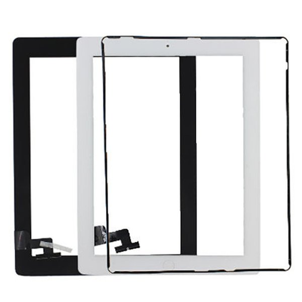 Touch Screen Glass Panel with Digitizer Buttons Adesivo per iPad 2 3 4 in bianco e nero DHL libero