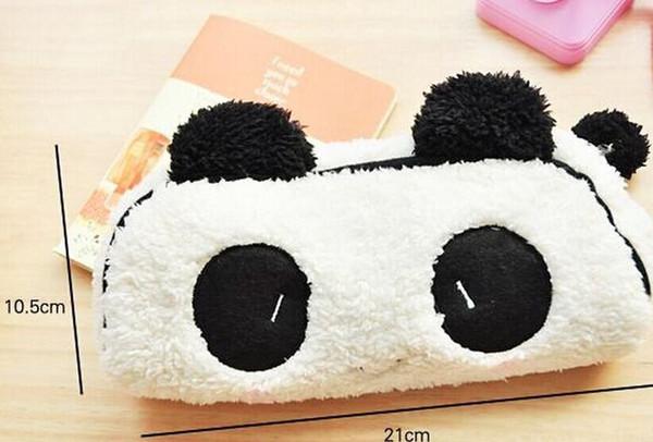 Bolsa al por mayor de Kawaii 21 * 10CM Plush Fluffy Panda Pen Pencil BAG Bolsa; Llavero colgante monedero monedero billetera funda