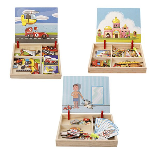 5 Sets Children Wooden Puzzles Circus Buildings Multifunctional Magnetic Kids Puzzle Drawing Board Educational Toys