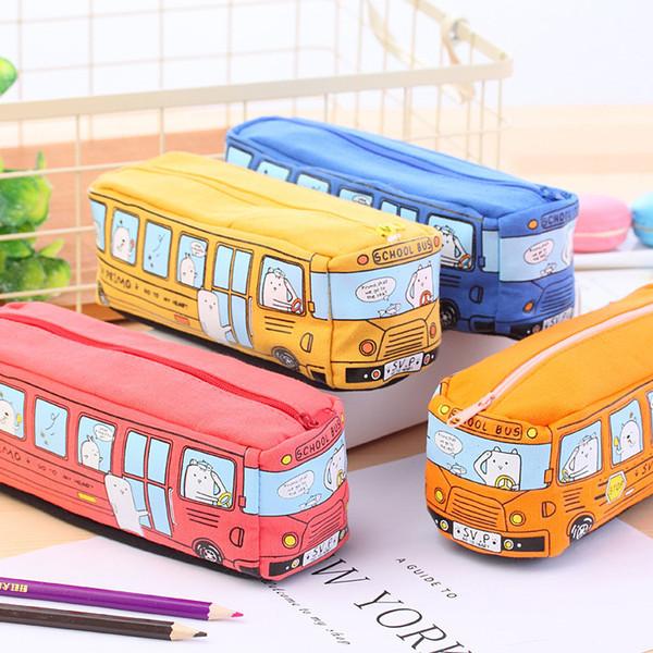 Caso della matita dei bambini Bus del fumetto della borsa della cancelleria dell'automobile Animali svegli Sacchetti della matita della tela per le ragazze dei ragazzi Forniture scolastiche Giocattoli Regali IB429