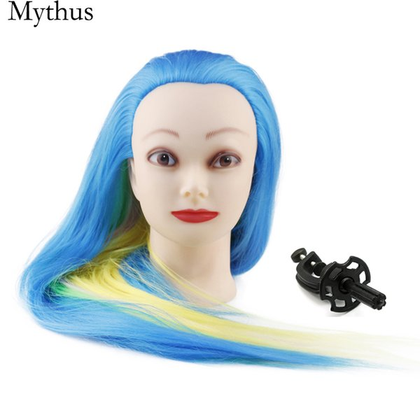 Professional Hairdressing Training Mannequin Head,Blue Rainbow Color Hair Pratice Mannequin Head,Female Model Heads With Wig