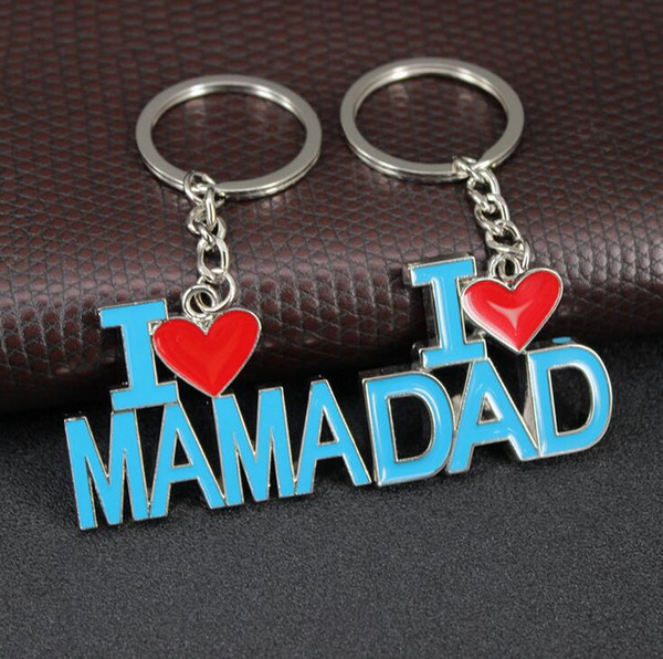 New arrival Father 's Day Mother' s Day gift I love my father I love my mother 's letter key KR017 Keychains mix order 20 pieces a lot