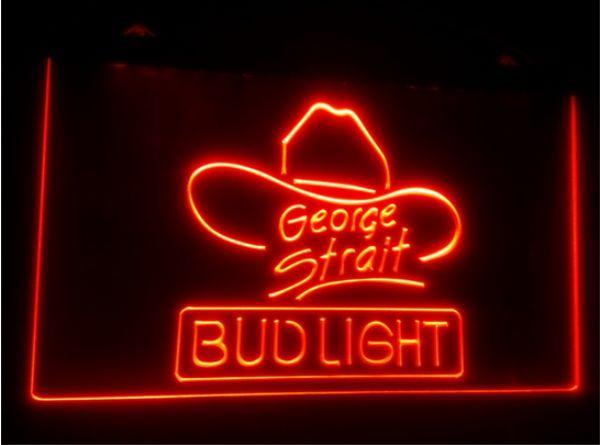 best selling tr10 Bud Light George Strait beer bar 3d signs culb pub led neon light sign home decor crafts