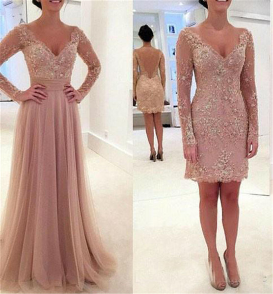 Formal Elegant V Neck Lace Appliqued Beaded Prom Gowns Blush Sheer Back Long Sleeves Evening Dresses With Detachable Skirt