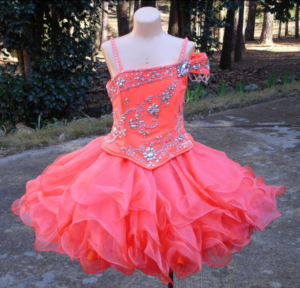 Lovely Mini Short Girl's Pageant Dresses Crystals Beaded Organza Zipper Back Flower Girl Dresses Cupcake Kids Pageant Gowns