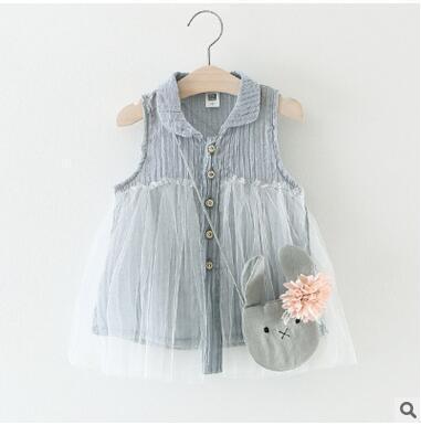 Chemise en gros de la fille en dentelle robe sans manches Blouse A-ligne dentelle Mini robe pour petite fille pas cher été mince Blouse livraison gratuite