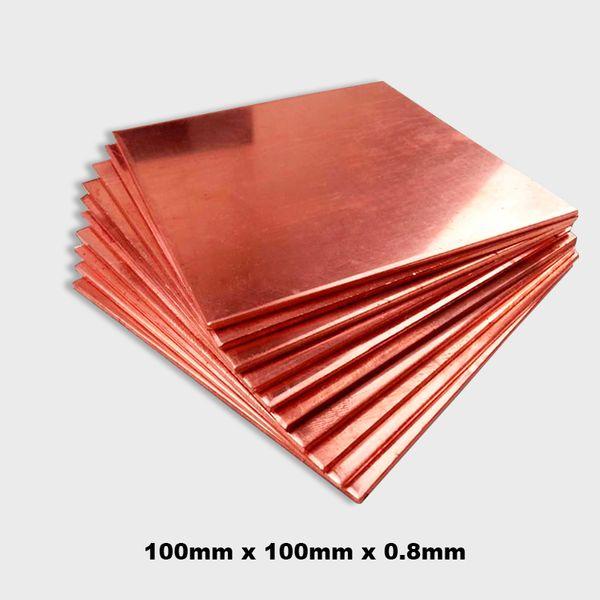 Wholesale-  T2 99.9% 100x100x0.8mm DIY Copper Shim Heatsink thermal Pad for Laptop GPU CPU VGA Chip RAM and LED Copper Heat sink