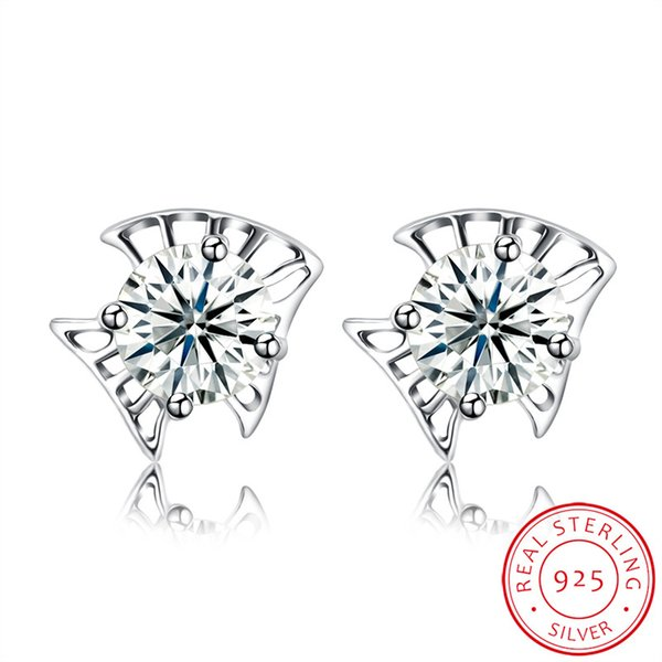 2017 Girls Prong Setting Shinny Clear Zircon Fancy Sterling Silver 925 Small Earring Stud Free Shipping