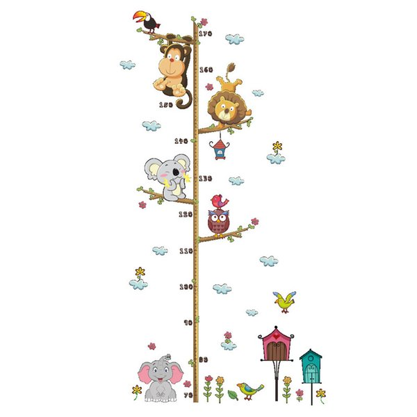 Removable PVC Children Wall Stickers Large Cartoon Monkey Lion Height Growth Chart Decal For Kids Room Decoration