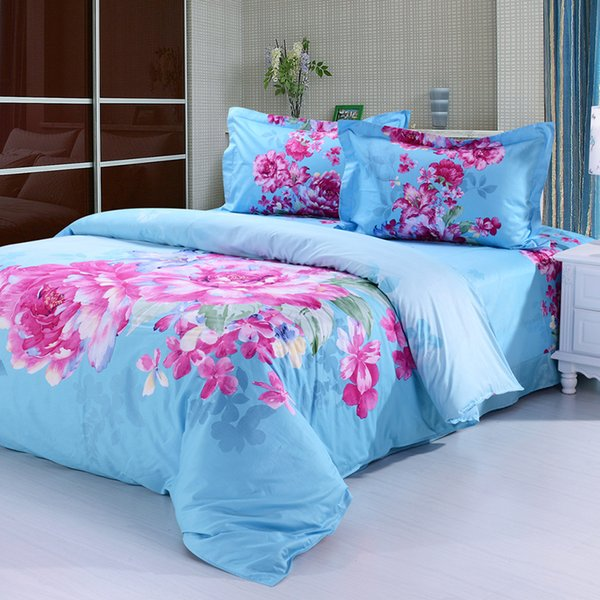 Pastoral style colorful printing four piece 100% cotton duvet cover bed sheet comforter set bedding sets