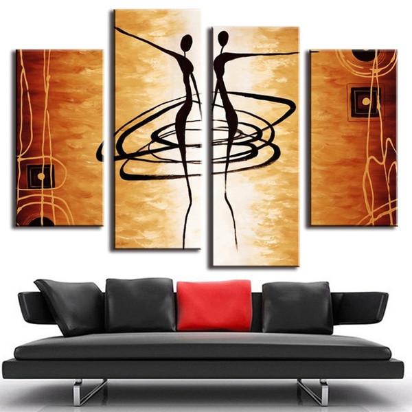 Compre 4 Panel Impreso Moderno Dancer Cuadro De Pintura Cuadros Arte ...