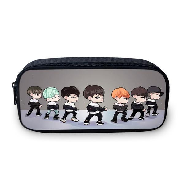 VEEVANV Design Korea BTS Cartoon Cosmetic Bag para niñas adolescentes School Makeup Pen Small Bag For Children Exo Pencil 3D Coin Case