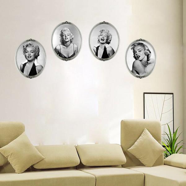 En gros 4 PCS 3D Sexy Marilyn Monroe Décor À La Maison Peintures Murales PVC Amovible Salon Chambre Décorations Stickers Muraux Papier Peint 35.4 * 11.8