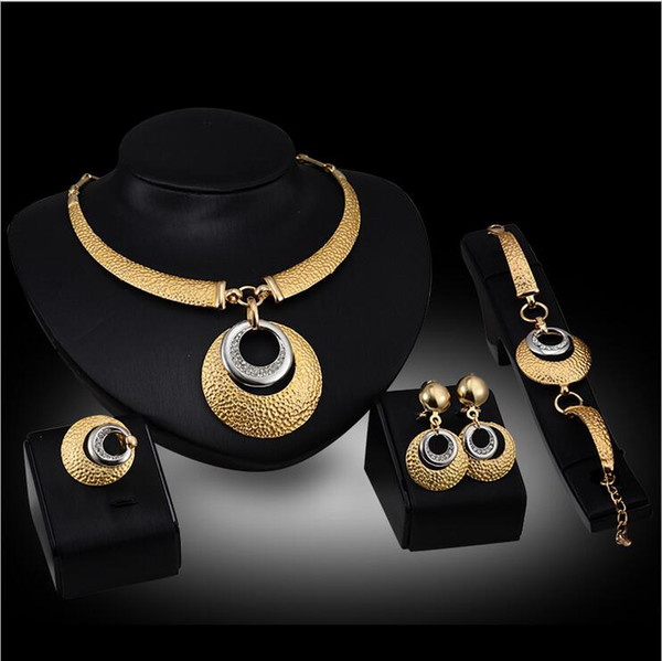 12set 2017 African fashion new golden plated long jewelry set bride wedding party crystal necklace earrings ring jewelry set F10340