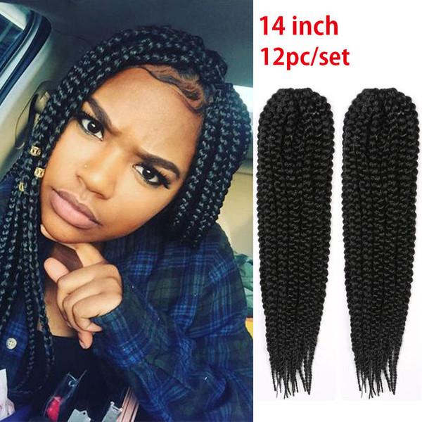 Synthetic Braiding Hair Afro Kinky Twist Crochet Braids 14inch Black Marley Senegalese