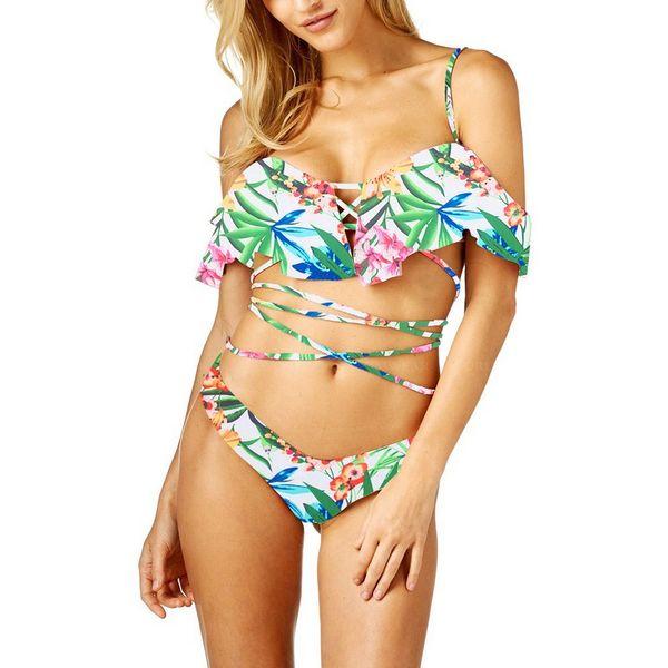 Women BeachWear Swimsuit Sexy Strappy Lace up Ruffle Bikini Top and Floral Bottoms Set Bathing Suits Swimwear Brazil Biquini