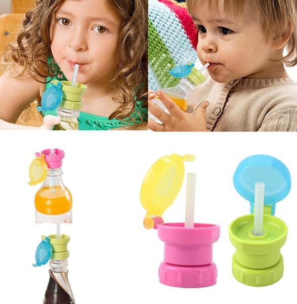 best selling 1Pcs Baby Children Drink Sippy Cap Feeding 360 Rotating Spill Proof Cover Feeding Drinking Tool (Color:Random) WIJI