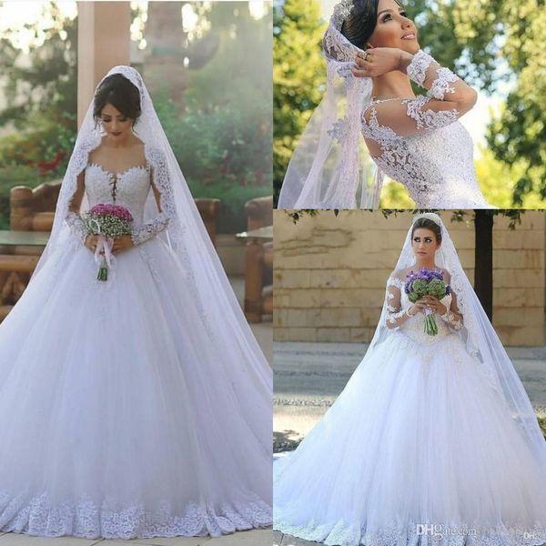 2020Said Mhamad árabe vestido de baile Puffy casamento vestidos Sheer mangas compridas rendas até o chão vestidos de casamento Vestidos De Noiva