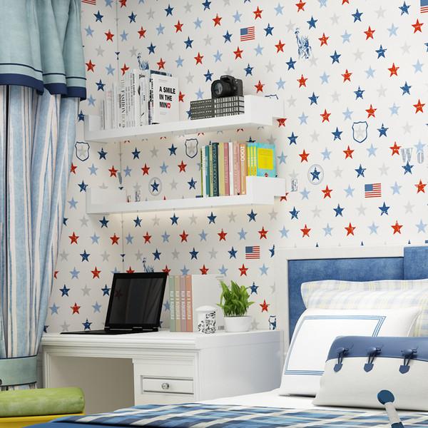 Großhandel Europäische Moderne Tapete Kinderzimmer Tapeten Star Wallpapers  Für Jungen Mädchen Bettwäsche Zimmer Cartoon Hintergrund Wand Papier Dekor  ...