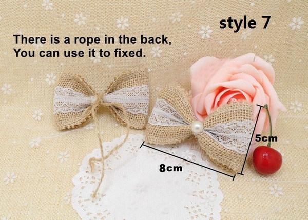 NNatural Jute Burlap Hessian Bowknot Handmade Pearl Bow white Trim Lace Vintage Wedding Decoration Hair Bow Hat Craft 20pcs/