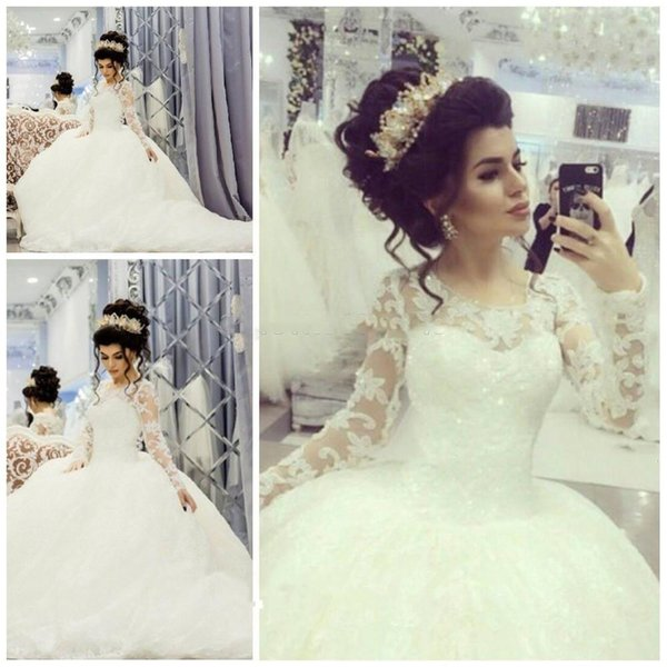 Romantic Wedding Dresses Royal Style Lace Long Sleeves Bridal Gowns Ball Gown 2017 New Elegant Dress