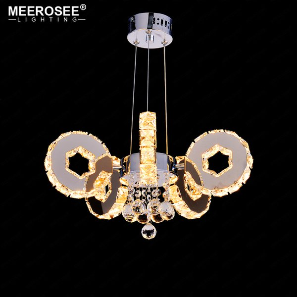 Modern LED Crystal Chandelier 5 Rings Suspension Light Fixture LED Drop Lustre for Hotel Project Home Decoration LED Luminaire