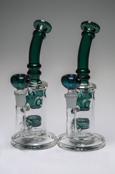 New Fab Egg Glass Bongs Swiss Bubbler Tube with Showerhead perc Water Pipes hookahs with 14 mm Joint