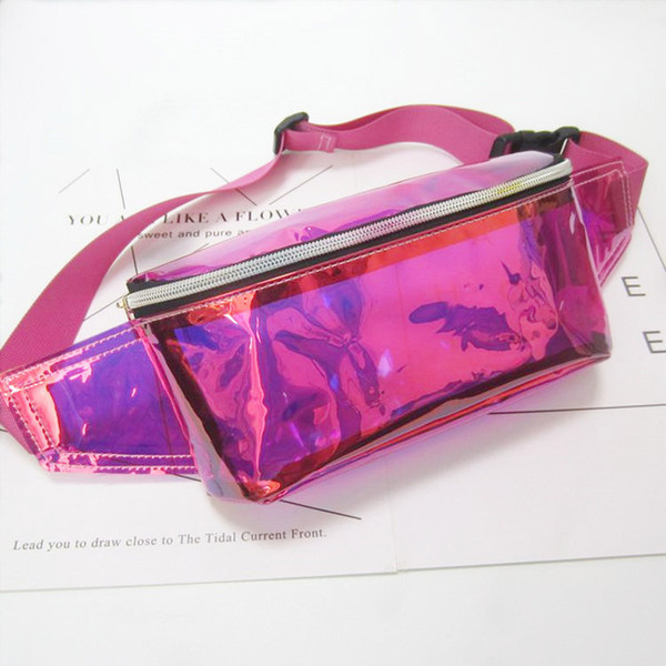 best selling 50pcs 2017 Women PVC Jelly color Clear Fanny Waist bag chest pack sparkle festival hologram Beach bag 10 inch