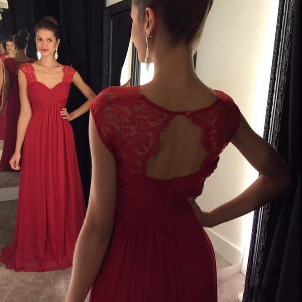 2017 New Arrival Red Chiffon A Line Formal Evening Evening Dresses Sweetheart Backless Ruffles Long Dresses Evening Wear Gowns Custom Made