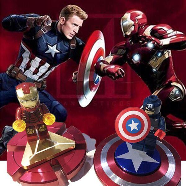 Fidget Spinner Iron Man Hand Finger Spinner Captain America Shield Metal Top Tri-spinner Toys Marvel Super Heroes Fidget Spinners