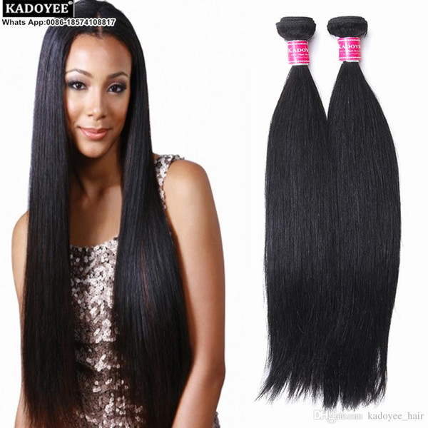 Kadoyee human hair 100% unprocessed brazilian human virgin remy hair extension straight hair bundle pure black color soft texture thick end