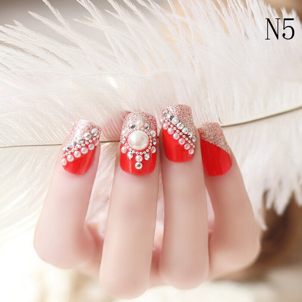 best selling New Wedding Bride Full Nail Tips False Stikers Gel Shimmer Fake Nails 24PC 3D networkonline