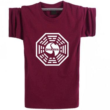 Lost T shirt Dharma Initiative short sleeve TV play show tees Leisure clothing Elastic cotton Tshirt