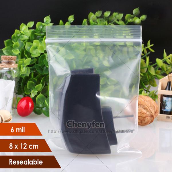 Free Shipping 100pcs Thick 6mil Transparent Plastic 8x12cm Self-Sealing Small Jewelry Bag Ziplock Bag Storage Packing