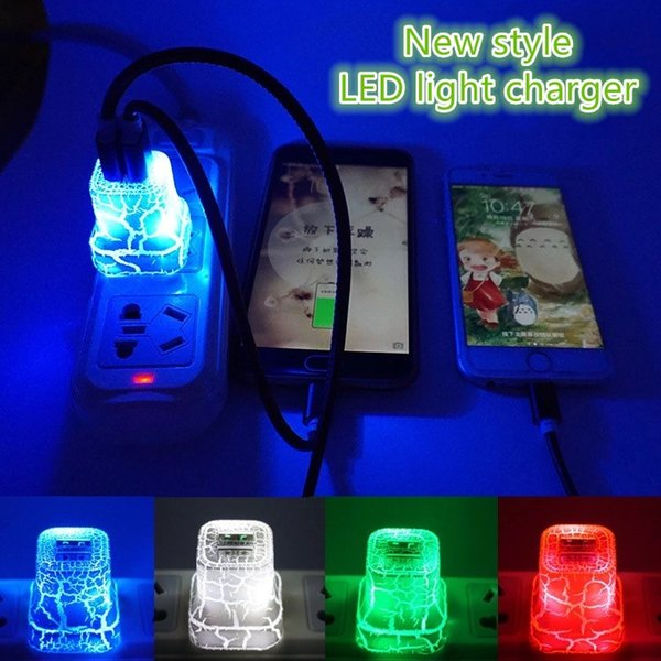 LED Dual 2 USB Wall Charger Cracks Colorful Glow Light UP 5V 2A 1A AC Travel Home Charging Power Adapter for iPhone Samsung LG Tablet iPad