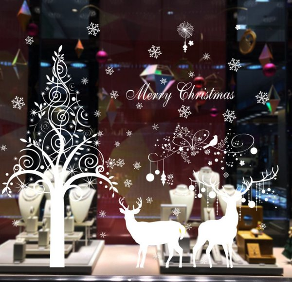 2017 new Christmas tree white elk stickers new year window background layout decorative stickers /DHL free shipping