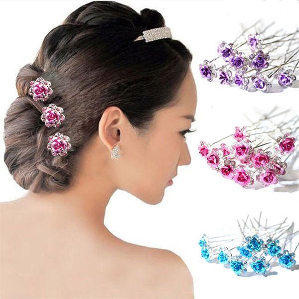 20Pcs/ Lot Women Wedding Bridal Clear Crystal Rhinestone Rose Flower Hair Pin Clips Hair Accessories Jewelry Barrettes Headwear