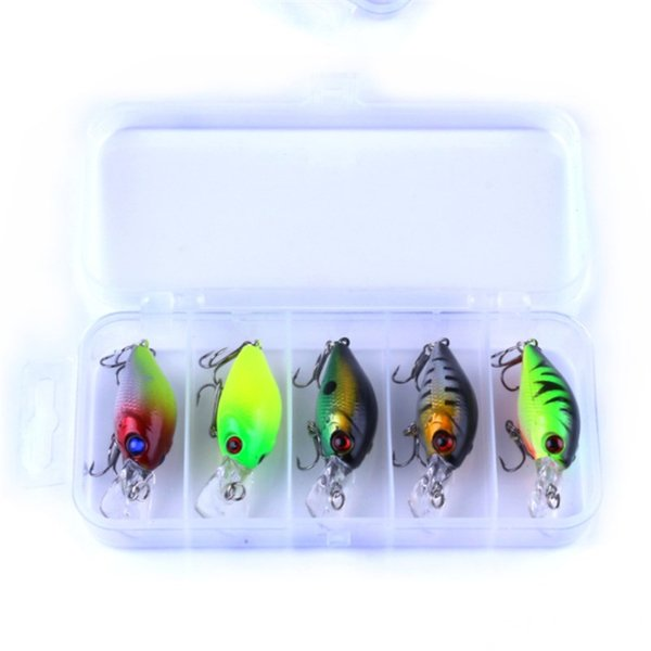 5pc 4.2g Fishing Lure Kit Minnow Floating Lure 7cm Isca Crankbait Bait Pesca Jig Fishing Hook Set with Fishing Tackle Box