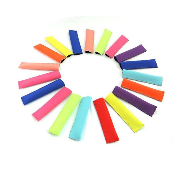 best selling New Popsicle Holders 15x4cm Pop Ice Sleeves Freezer Pop Holders 10 colors DHL Fedex Fast Shipping
