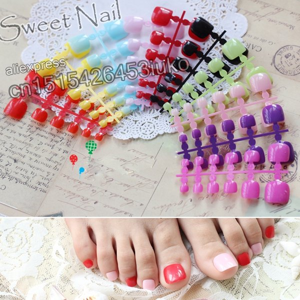 24 шт. дизайн моды милые пальцы последние французский стиль конфеты красочные поддельные toe Purpurin #0100