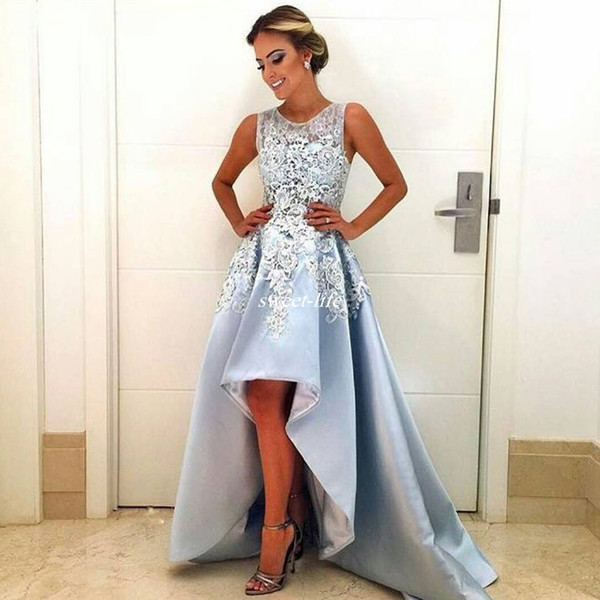 Haut Bas Robes de bal Bleu ciel 2020 Custom Made sans manches en dentelle A-ligne satin occasion spéciale Robe de soirée Robes de soirée arabe