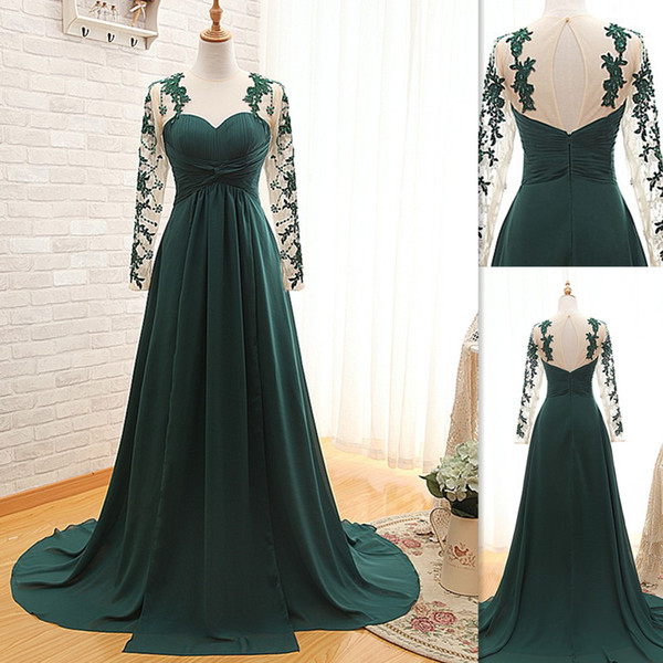 Emerald Green Prom Dresses 2018 Long Sleeves Real Photos A-line Beaded Special Occasion Party Gowns Sweetheart Dress For Women Elegant