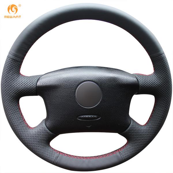 Mewant Black Genuine Leather Car Steering Wheel Cover for Volkswagen Passat B5 VW Passat B5 VW Golf 4