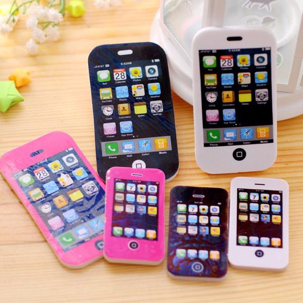Wholesale- SmallSize 2PCS fancy iphone shape eraser / phone eraser / gift eraser/children gift/sweet stationery Office & School Supplies
