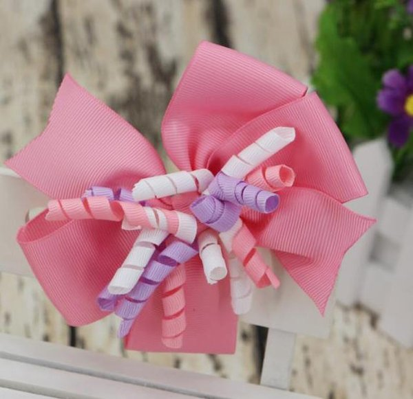 24 colors jojo Layered Korker Hair Bow 5Inch for girls toddler grosgrain ribbon Curly Hair Bows Hair Clips Kids Barrettes 30pcs/