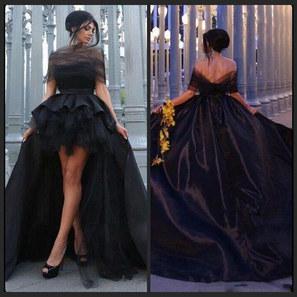 2018 Madre e hija negras vestidos de fiesta fuera del hombro Vestidos de noche de tafetán altos y bajos vestidos de baile por encargo